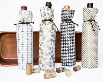 Bottle Gift Wraps (Set of 4) // Wine Bag Alternatives // Beer Bomber Wrap // Coppertops Bottle Wrap // Hostess Gift