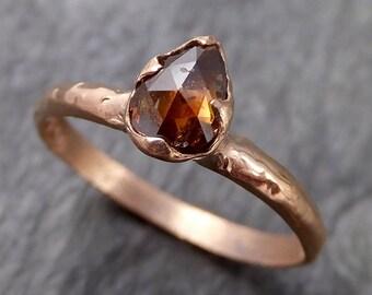 Fancy cut Cognac Diamond Solitaire Engagement 14k Rose Gold Wedding Ring Diamond Ring byAngeline 1093