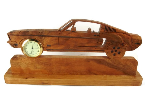 Vintage Style Ford Mustang Desk Or Shelf Clock Handmade From Cherry Wood By KevsKrafts NFB-1