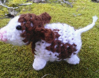 Mini Cow Plush - miniature calf ornament - tiny crochet cow - by Moss Mountain
