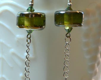 Gorgeous Green and Silver Lampwork Beaded Earrings