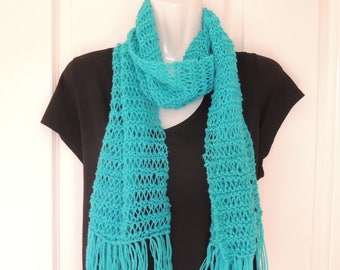 long scarf. scarves. hand knit. accessories, Spring fashion. clothing.  Autumn scarf. Winter scarf. Aqua. Australia seller