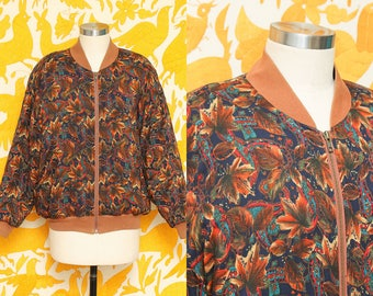 Autumnal Jacket // Leaf Bomber // 80s Brown Neon Ribbed Fall Pattern Zippered Paisley Print Coat Size Medium
