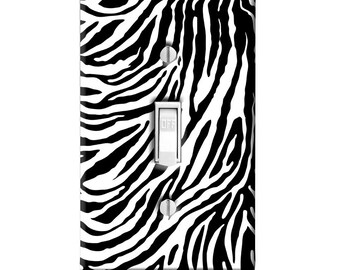 Home Decor Light Switch Cover-Zebra Animal Print-Housewarming-Lighting-Wall Decor-Kitchen Decor-Bathroom Decor-Double Light Switch-Triple