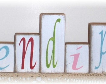 Serendipity Blocks Multi Colors Set of Eleven Wood Shelf Sitters Custom Colors Sign