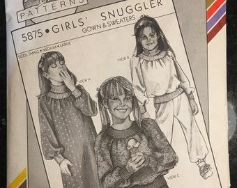 Girls' SWEATSHIRT / SNUGGLER / Night Wear / Gowns -- Stretch & Sew 5875 Vintage Pattern Includes S / M / L