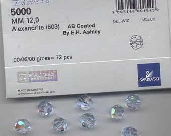 Eight limited edition Swarovski crystals - Art. 5000 - 12 mm - alexandrite AB