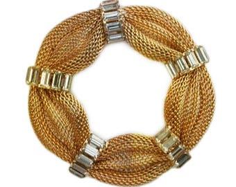 1960s Polished & Mesh Gold Tone Metal White Rhinestone Baquette Rhinestones Round Estate Jewelry Pin Brooch