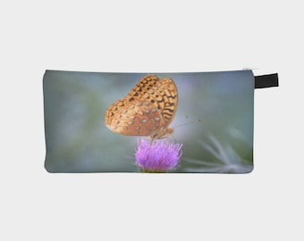 Butterfly on Thistle Flower on Pencil Case Men's Toiletry Case Ladies Make-Up Pouch Carry All Case Perfect Gift Idea