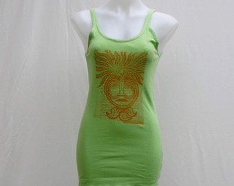 SALE! Green tank, Plus size Tank, plus size Singlet top, au 18 UK 16 US 14, screen printed tank, spearmint wearable art tank art to wear top