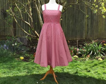 50s Style Dress, Midi Skirt Dress, Floral Dress, Vintage Style Dress, Hand Painted Dress, Circle Skirt Dress, Vintage, 50s Dress, Full Skirt