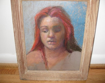 """PASTEL DRAWING-Red Head In Antique Oak Frame 13 1/4"""" x 16"""""""