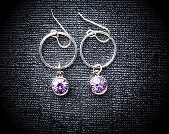 Lavender Swarovski Crystal Hoop Earrings