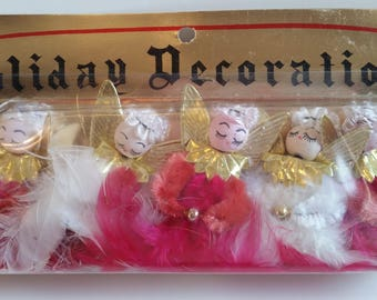 Vintage Angel Ornaments Set of 5 Spun Cotton Heads Feathers Christmas Package Tie-Ons NOS New in Package Made in Japan by Commodore