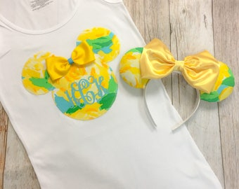 Minnie Mouse Inspired Ears & Tee Set Made with Lilly Pulitzer First Impressions Sunglow Genuine Fabric LIMITED EDITION