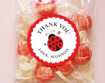 Personalized Ladybug Party Thank You Favor Tags or Stickers – 2, 2.5 or 3 Inch Circle – DIY Printable (Digital File)
