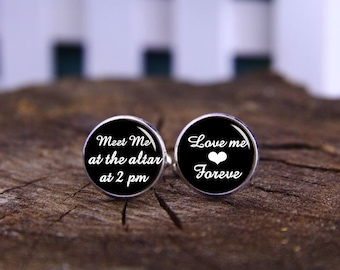 Meet Me At The Altar Cufflinks, Custom Time Or Date, Love Me Forever, Custom Personalized Wedding Cufflinks, Groom Cuff Links, Tie Clps