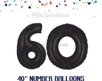 60th Number Balloons | 60th Birthday Decor | 60 Black Balloon Numbers | 60th GOLD Balloons | 60th Bday | 60 Balloon | 60th Anniversary Decor