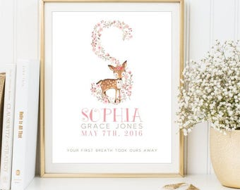 Personalized Floral Monogram Deer Name print, Nursery Name sign Floral Wall Art New Baby Gift printable Baby Announcement, DIGITAL FILES