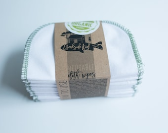 Organic Cotton Flannel Cloth Wipes with Organic Cotton Thread -   Organic Wipes - Double Layer --   AVOCADO GREEN Thread