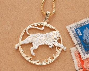 """Year Of The Tiger Pendant and Necklace, Chinese Coin Hand Cut, 14 Karat Gold and Rhodium Plated, 1 1/4"""" in Diameter, ( # 558 )"""