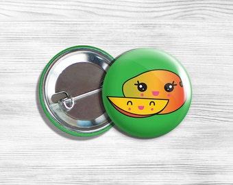 "Kawaii Mango Vegan Vegetarian Fruit Pinback Button Pin 1.75"""