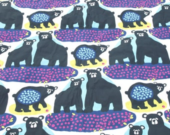 Fabric Bears with blueberries fabric Animals fabric Cotton Fabric Kids Fabric Scandinavian Design Scandinavian Textile