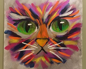 """Cat #1, Original Acrylic Painting on Canvas, 12"""" x 16"""" ... Abstract Animal art, Cat art, Perfect gift for the cat lover!"""