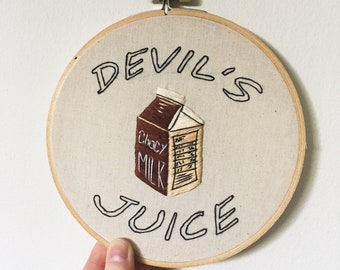Devil's Juice - Chocolate Milk themed Hand Embroidery Art