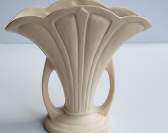 Vintage Cream Colored Fan Vase with Side Handles