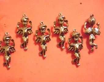 6 Vintage 36mm Goldplated Angel Cherub Charm Pendants