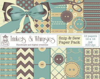 Snip and Sew Digital Scrapbook Papers - Instant Download