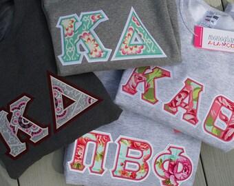 Greek Letter Applique Crew Neck Sweatshirt