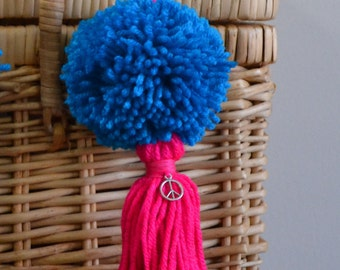 Blue and Pink Pom Pom & Tassel Clip-on with Peace Sign Charm -  Keychain, Beach Bag or Backpack Flair Clip