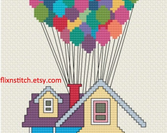 Pixar's Up House with Balloons Cross Stitch PDF Digital Download