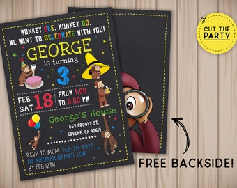 Curious George invitation, Curious George birthday invitation, Curious George party invitation, Curious George chalkboard invitation