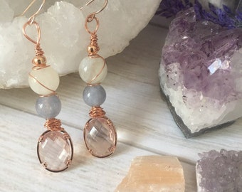Serene Goddess Vibes Handmade wire wrapped Earrings charged with reiki