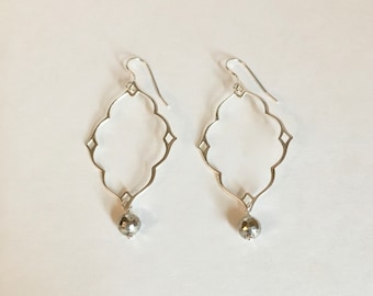 Sterling silver hoop earrings with pyrite gemstones