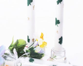 Hand Painted Taper Candles Shamrocks. St. Patrick's Day