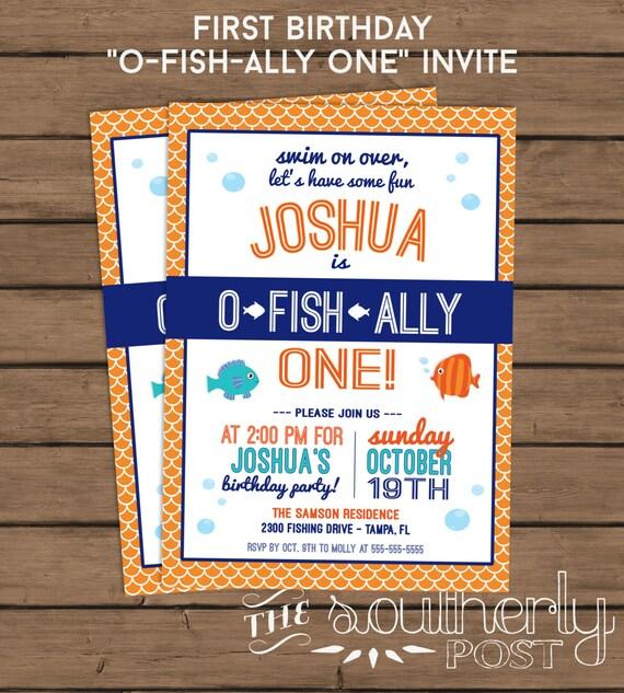 O fish ally one birthday party invitation fish birthday filmwisefo