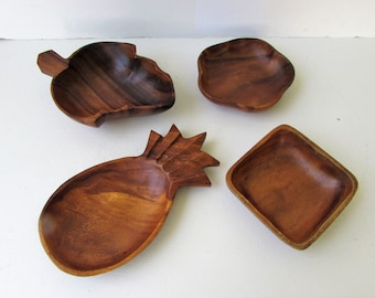 Vintage Set of Small Wooden Bowls - Leaf Flower Pineapple and Square Shaped Mid Century Modern Wooden Serving Bowls - Monkey Pod Bowls