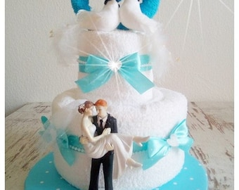 Wedding cake from wedding cake towels gift wedding turquoise white bride and groom get married