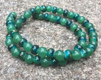 Green Aventurine and Glass Bead Necklace - Heart Chakra