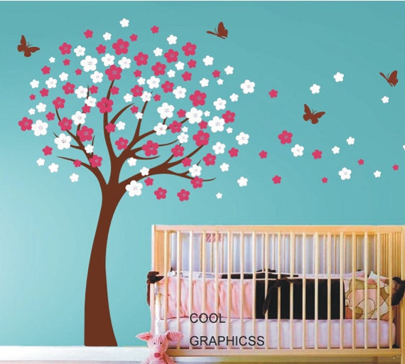 Attrayant Wall Decals Cherry Blossom Tree Wall Decals Nursery Wall Decals Children  Girl Baby Wall Decals Wall Sticker Wall Decor Butterfly