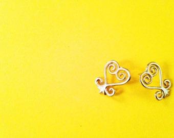Sankofa Adinkra Stud Earrings// African Symbol Earrings, Adinkra African Symbols, Afrocentric Jewelry, African Jewelry, African Heart Studs