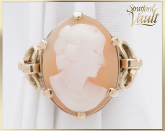 Original Art Deco ~ Oval Shell Cameo Ring ~ 10K Yellow Gold Setting ~ Hand Carved Natural 16 x 12 Oval Shell Cameo ~ STR17156 ~ GIA ~ 800.00