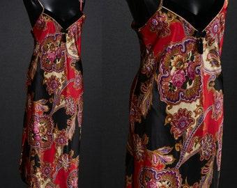 90s Paisley Maxi Satin Slip Dress / Small