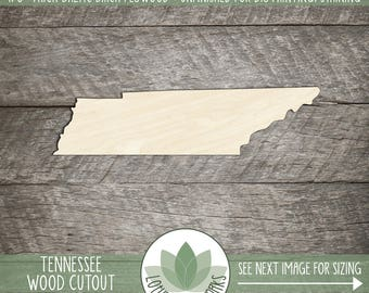 Tennessee, Unfinished Wood Tennessee Laser Cut Shape, DIY Craft Supply, Many Size Options