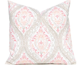 Coral  Pillow Cover - Coral and Tan Damask - Decorative Pillow Cover - Damask Pillow Cover - Coral Cushion Cover - Throw Pillow Cover