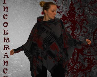 Cape poncho, knitted wool stretch 'History'
